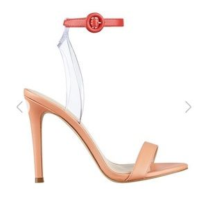 GUESS EMORIE CLEAR-STRAP HEELS